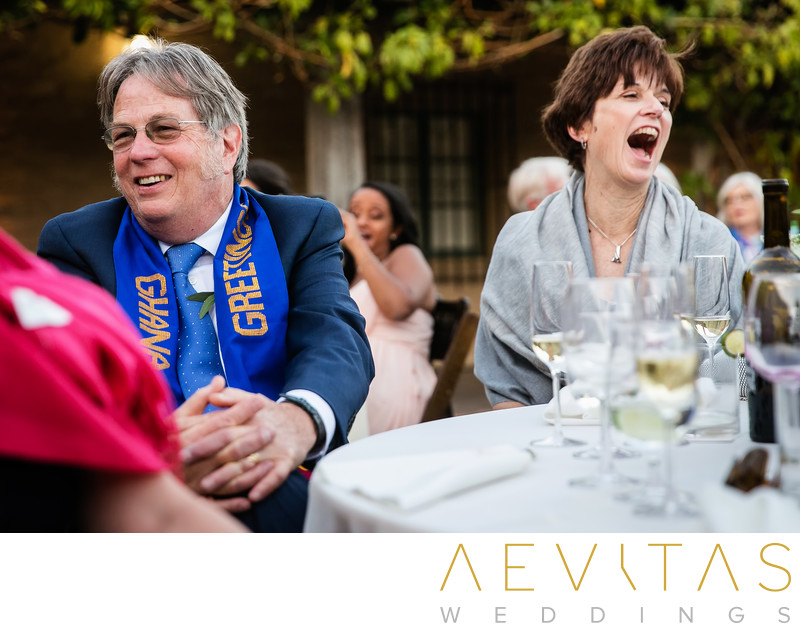 Parents laughing during Santa Barbara wedding reception