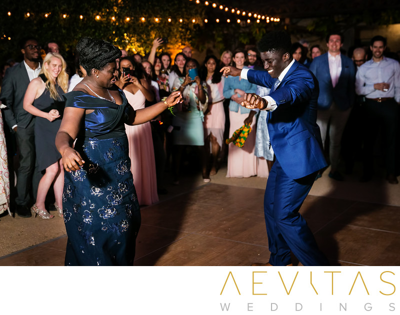 Mother-son dance at Ghanaian wedding reception