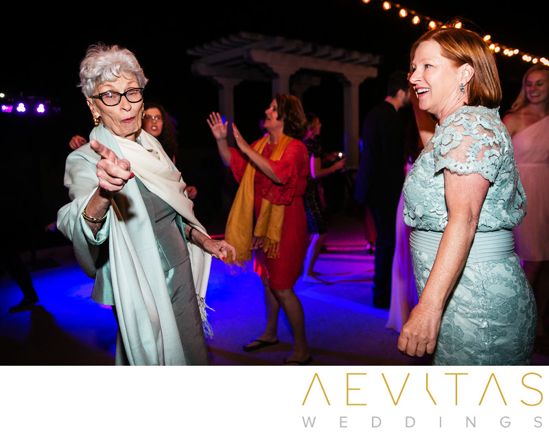 Funny photo of elderly wedding guest in Santa Barbara