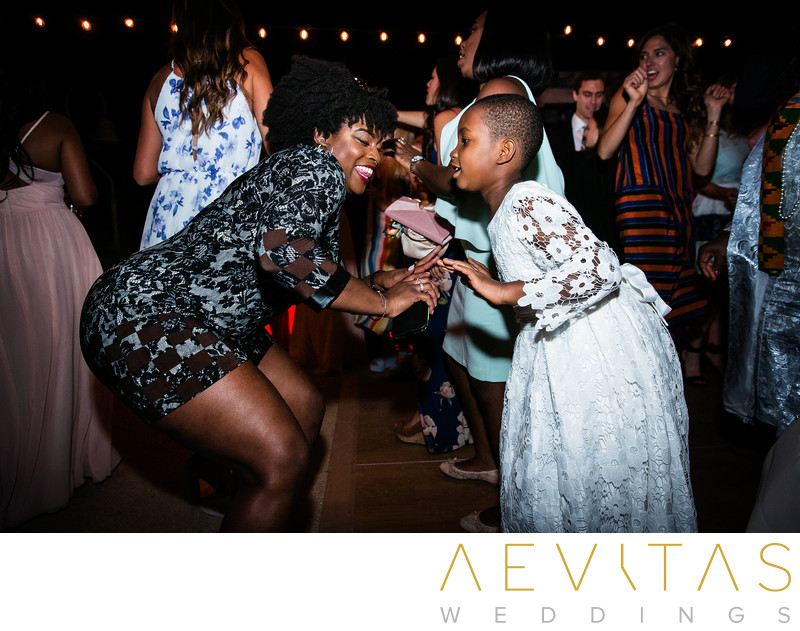 Wedding guests getting down on dance floor