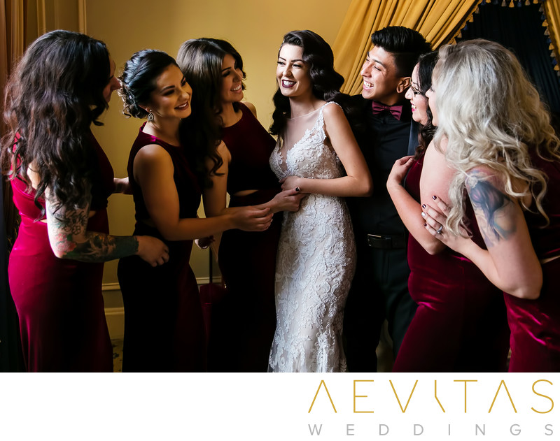 Bride and bridesmaids getting ready portrait in LA