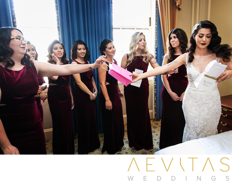 Bride exchanges gifts with bridesmaids in Los Angeles