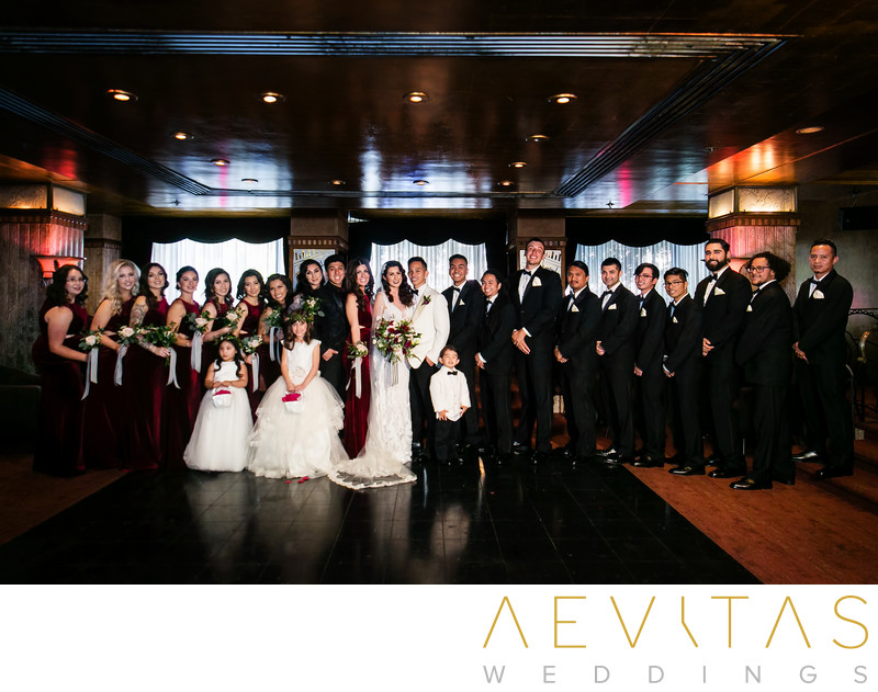 Bridal party portrait at Cicada Restaurant