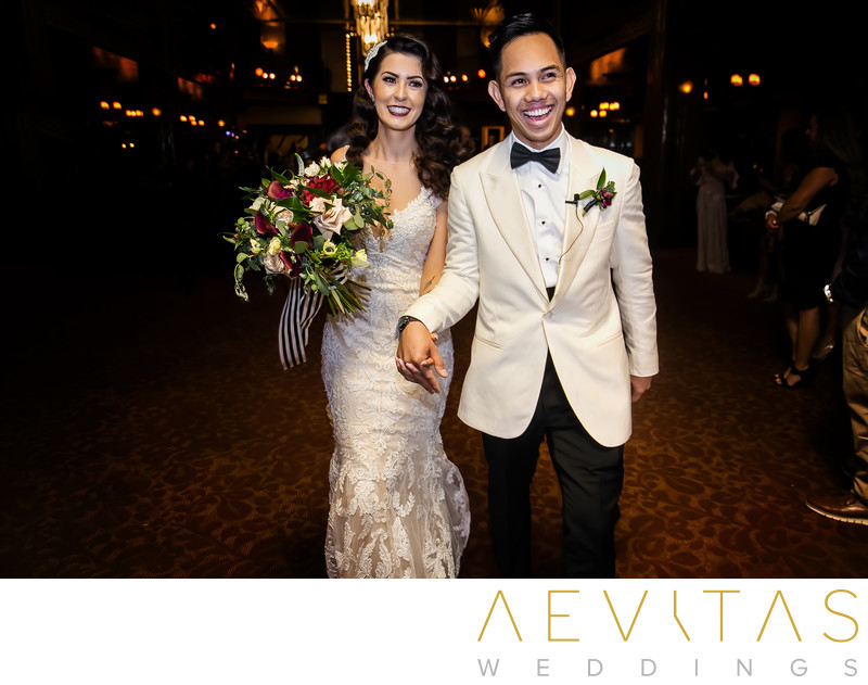Bride and groom recessional walk photo in Los Angeles
