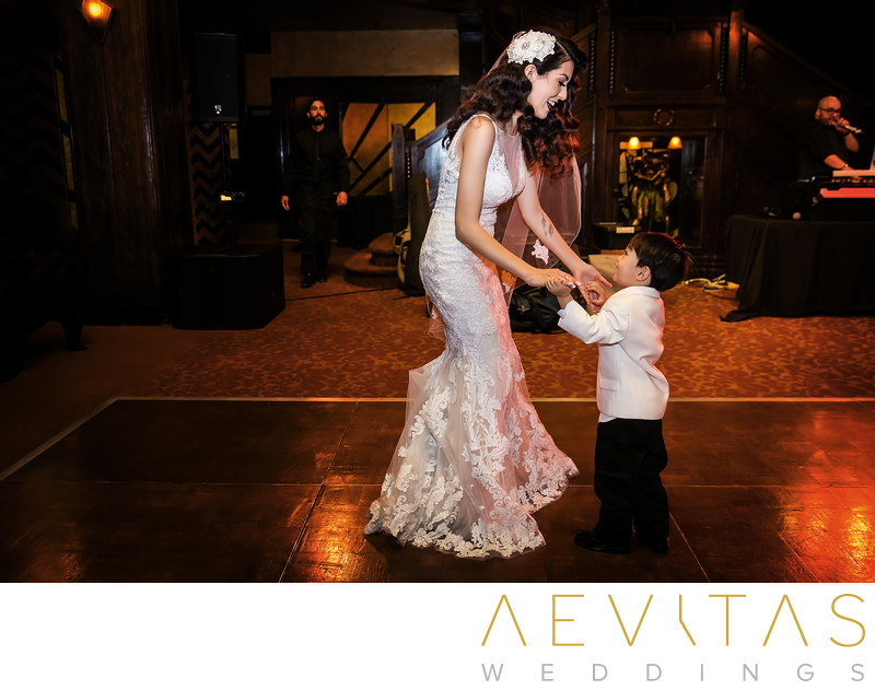 Bride and son dancing at Los Angeles wedding reception