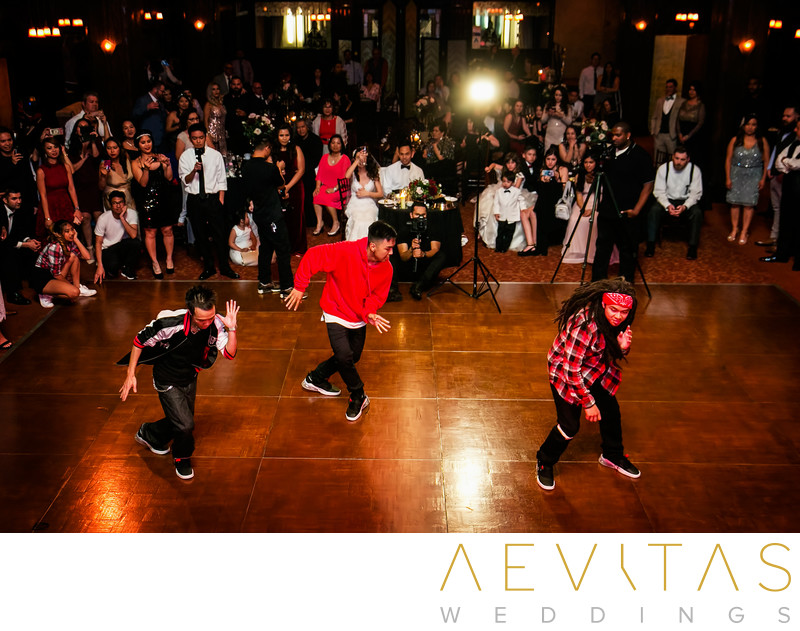 Elevated view of hip hop wedding reception dance