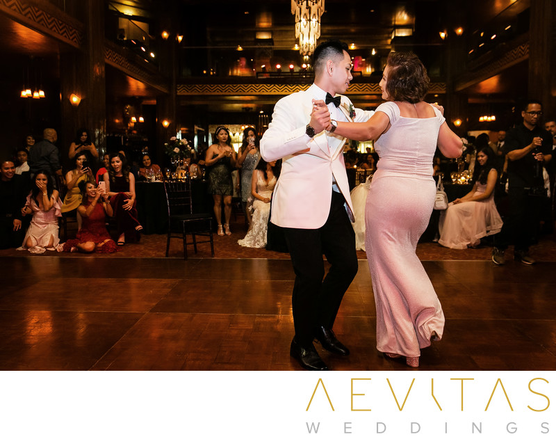 Choreographed mother-son dance at Cicada Restaurant