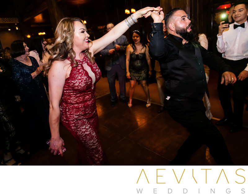 Wedding guests twirl on LA reception dance floor