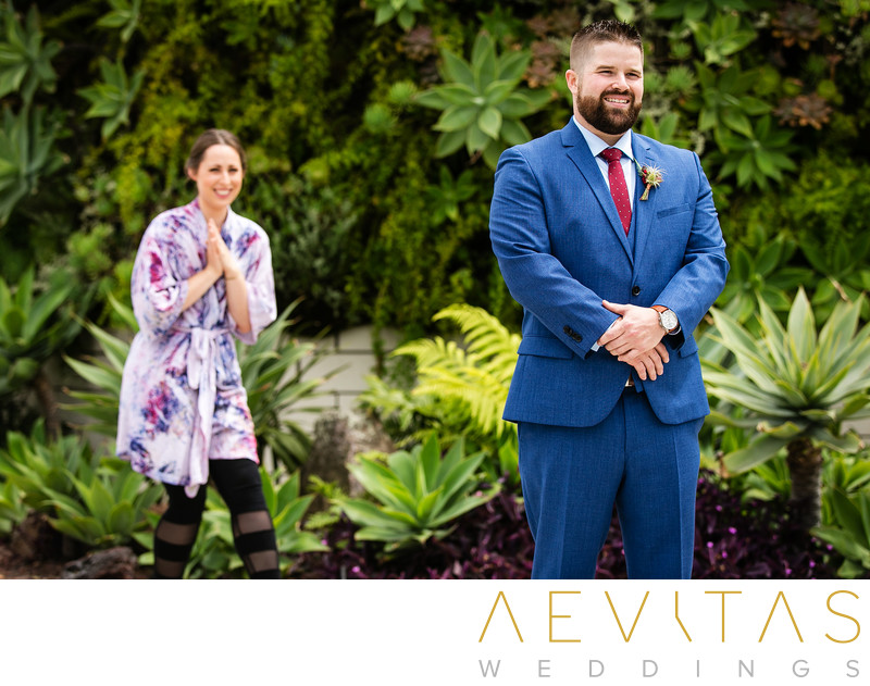 Couple first look in lush gardens by LA photographer