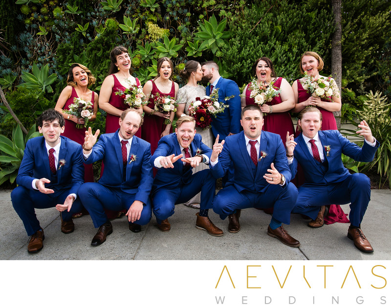 Fun bridal party portrait by LA wedding photographer
