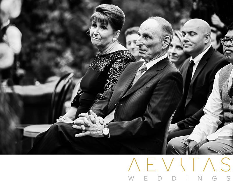Black and white parent reactions at LA wedding ceremony