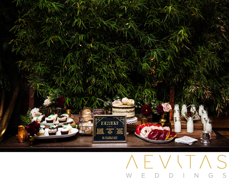Desserts table at SmogShoppe wedding reception