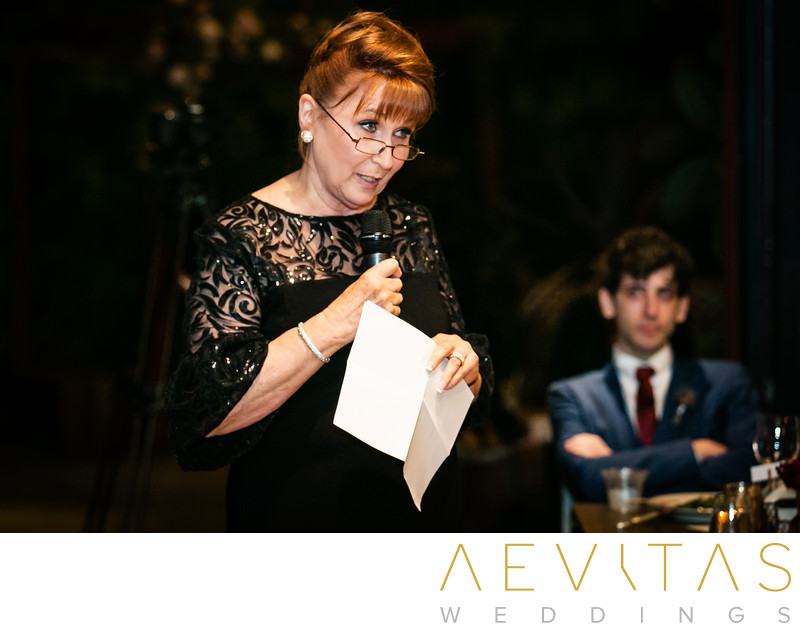 Mother makes a speech during Jewish wedding reception