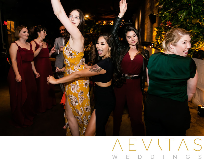 Women dancing at Los Angeles wedding reception