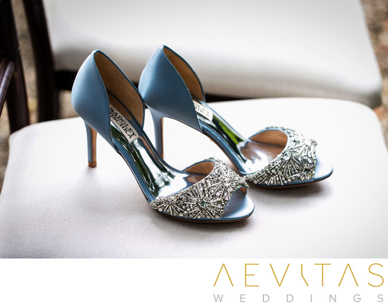 Blue wedding shoes by Los Angeles wedding photographer