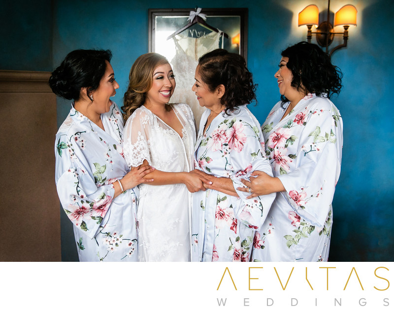 Bride with bridesmaids getting ready in Sierra Madre