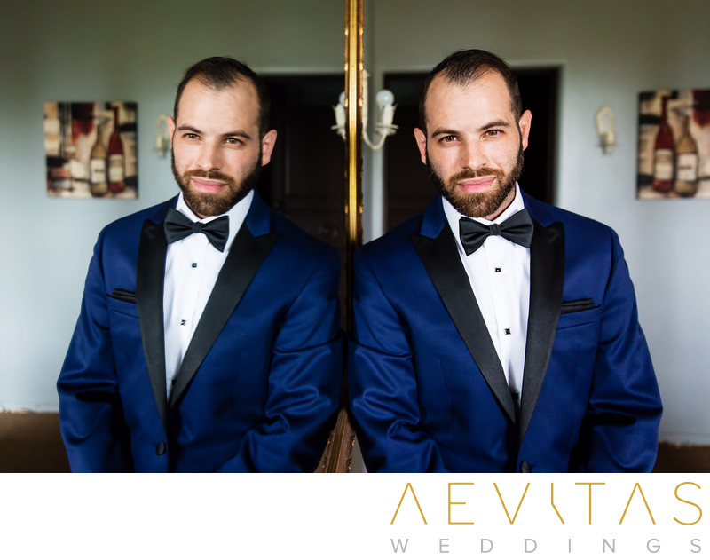 Groom portrait with mirror by LA wedding photographer