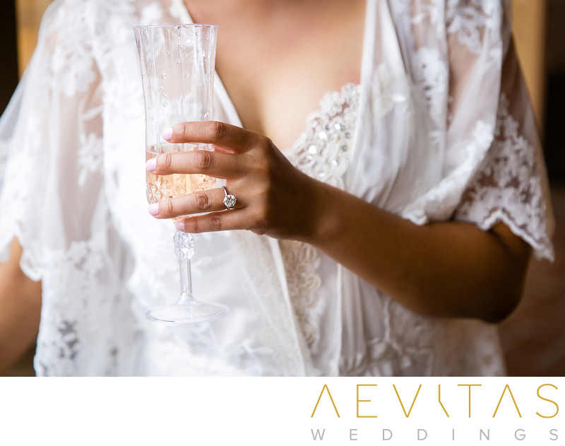 Creative photo of bride with glass of champagne