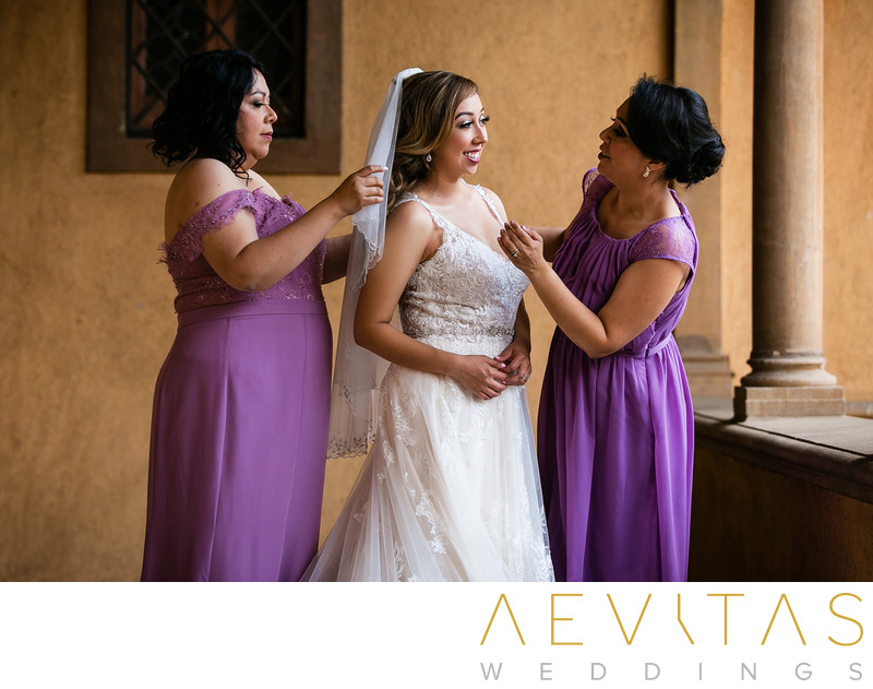Bride getting ready with bridesmaids in Sierra Madre