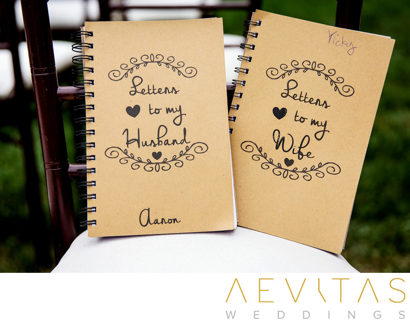 Letter books for bride and groom at Villa Del Sol D'Oro