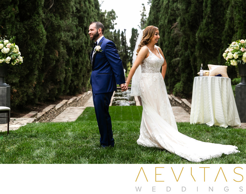Couple first touch moment at Villa Del Sol wedding