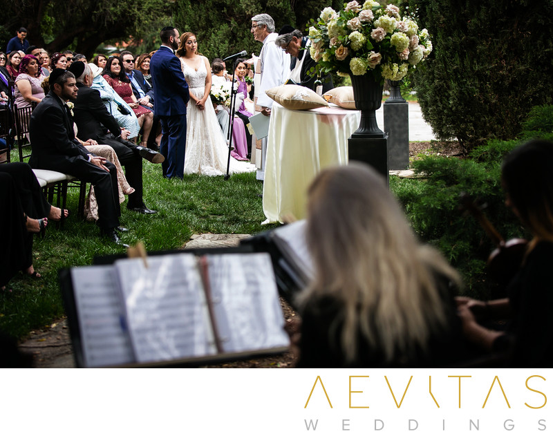Creative wedding ceremony photo with string quartet
