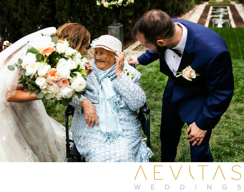 Newly weds with grandma by LA wedding photographer