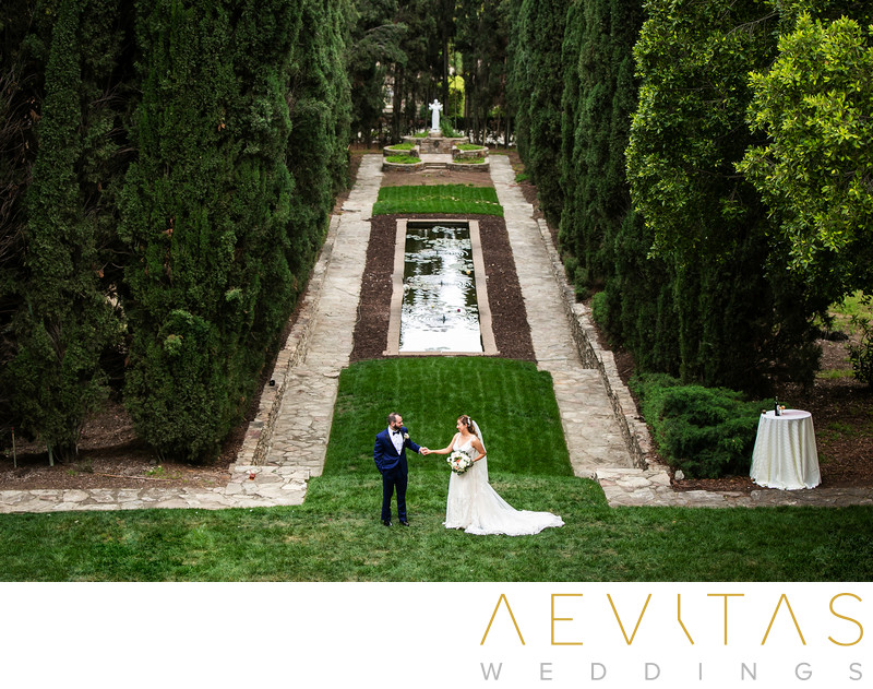 Couple portrait in Italian-inspired gardens in LA