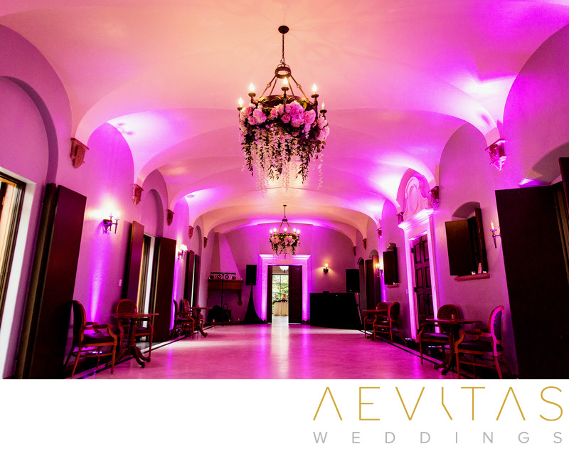 Illuminated hall at Villa Del Sol D'Oro wedding