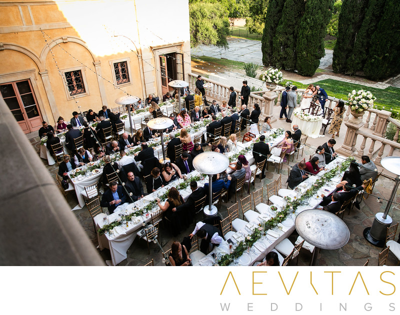 Bird's eye view of Villa Del Sol D'Oro wedding