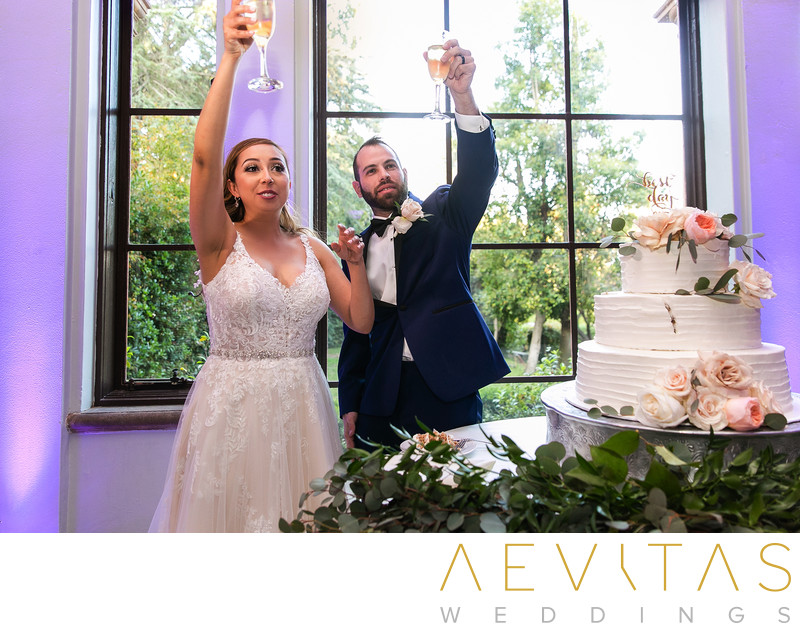Couple champagne toasts at cake cutting ceremony