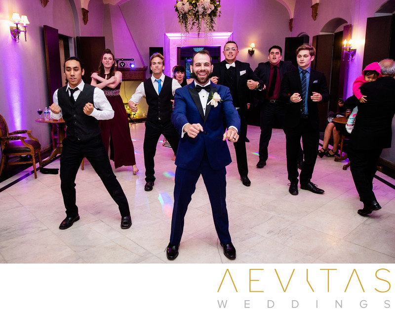 Groom and guests choreographed wedding dance