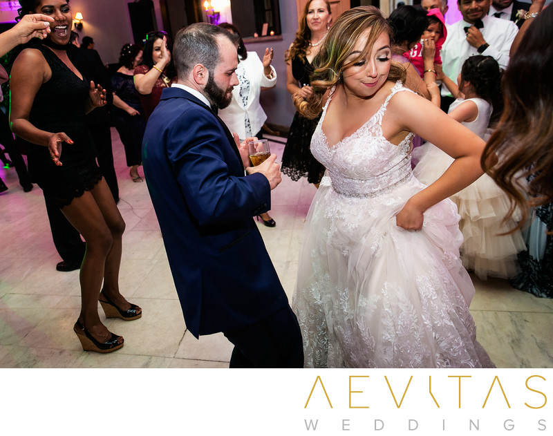 Bride and groom dancing by Sierra Madre photographer