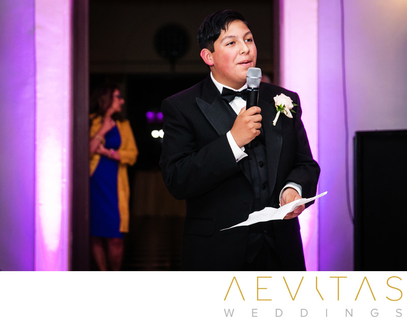 Cousin speech at Villa Del Sol D'Oro reception