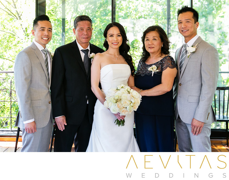 Bride and family portrait at The Houdini Estate