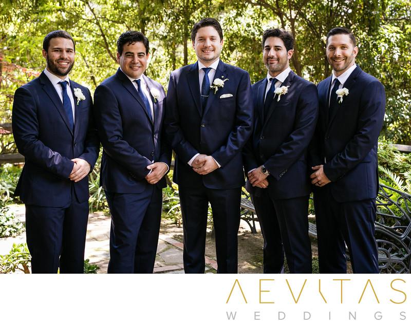 Groom bridal party portrait at The Houdini Estate