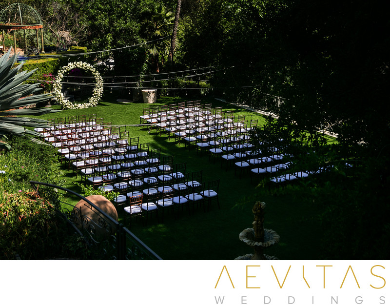 Garden wedding ceremony venue at The Houdini Estate