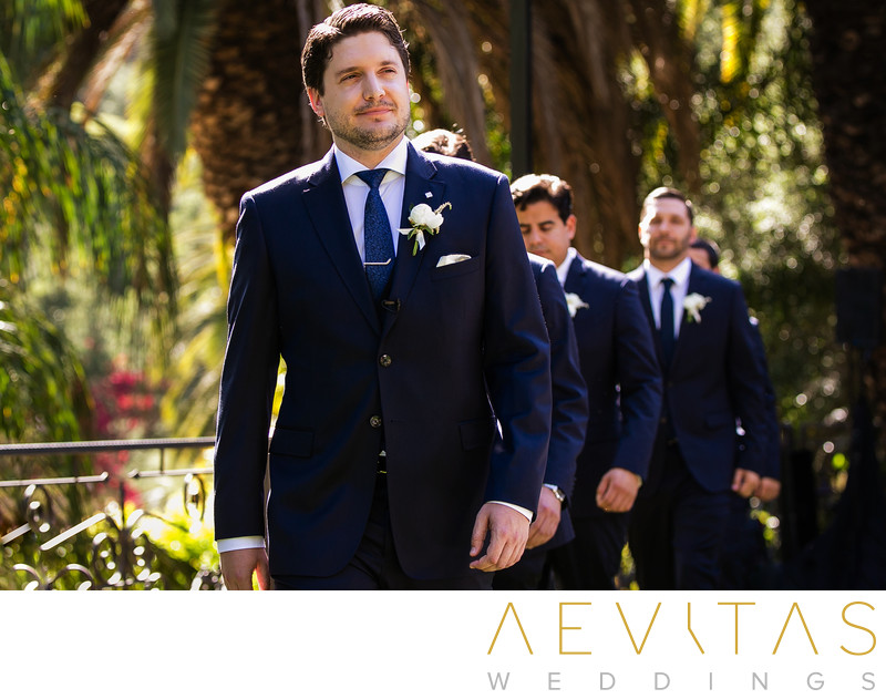 Groom and groomsmen arrive at The Houdini Estate