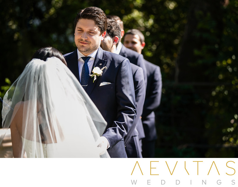 Candid groom reaction at The Houdini Estate wedding
