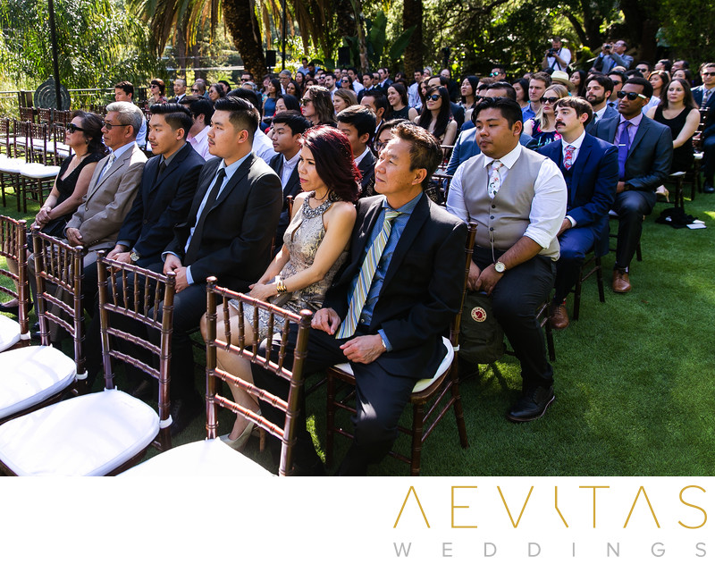 Wedding guests at The Houdini Estate ceremony