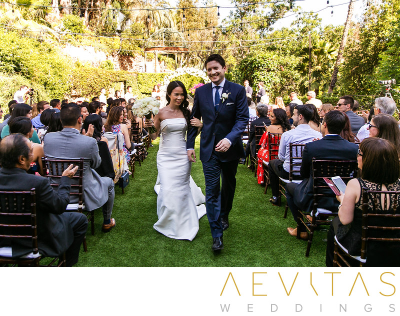 Couple recessional walk at The Houdini Estate
