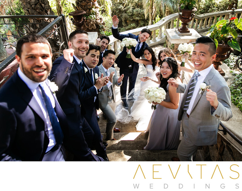 Bridal party celebrate at The Houdini Estate