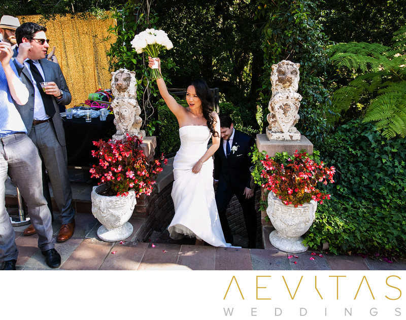 Couple grand entrance at The Houdini Estate reception