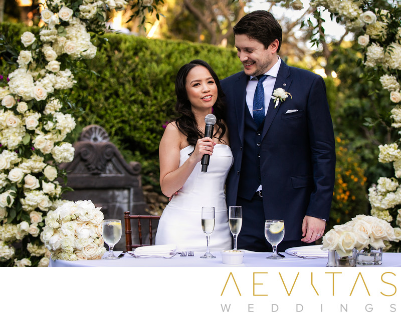 Couple speech at Houdini Estate sweetheart table