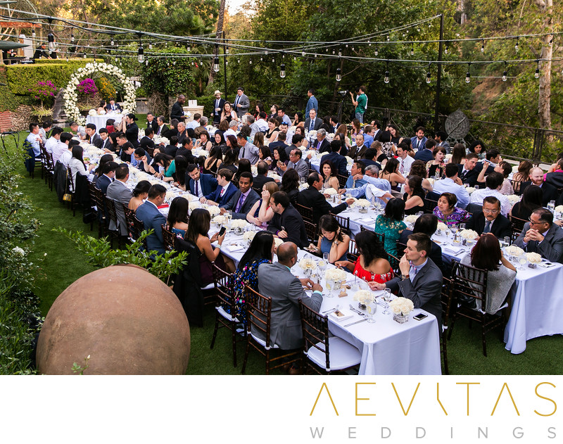 Elevated view of Houdini Estate wedding reception