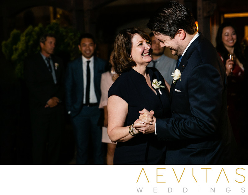 Mother-son dance at Houdini Estate wedding reception