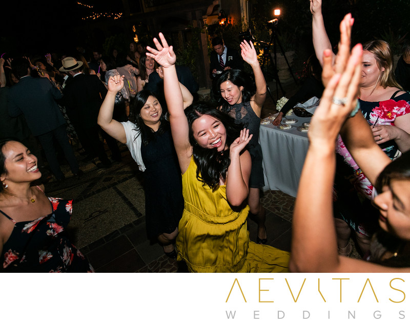Wedding guests with hands in the air photo in LA