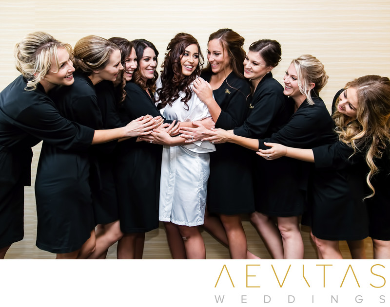 Bride with bridesmaids in black at Yorba Linda wedding