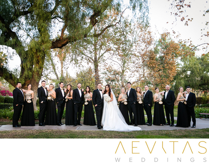 Creative bridal party portrait at Richard Nixon Library