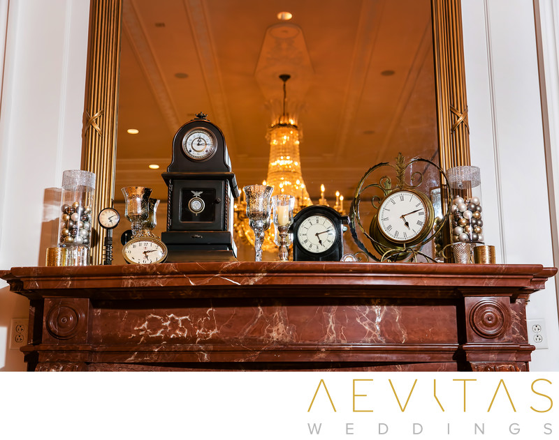 Antique clocks on mantelpiece at Richard Nixon Library